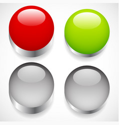 Intact pressed button templates red green vector