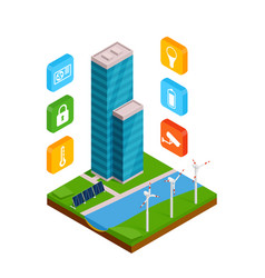 isometric smart building with outline colors icons vector image
