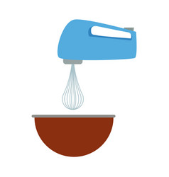 kitchen electric mixer bowl preparation food vector image