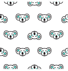 Koala bear heads funny seamless pattern vector