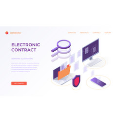 Landing page for electronic contract vector