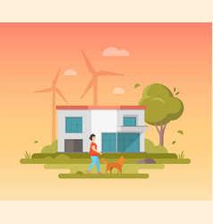 landscape with windmills - modern flat design vector image