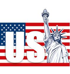 liberty statue nyc usa symbol usa flag vector image