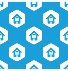 Locked house hexagon pattern vector