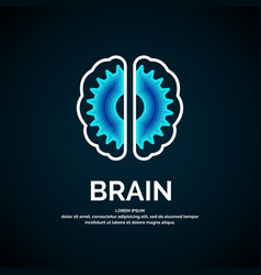 Logo brain color silhouette on a dark vector