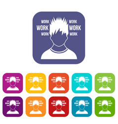 Man and work words icons set vector