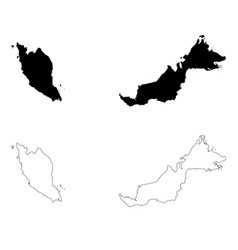 map malaysia isolated black vector image