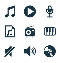 multimedia icons set with vinyl radio microphone vector image