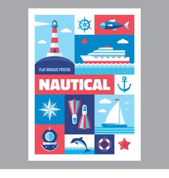 Nautical - poster with icons in flat design vector