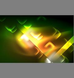 neon shiny light lines on black techno modern vector image