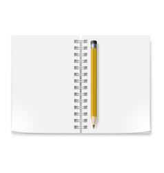 notebook with white pages and yellow pencil vector image