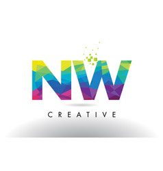 nw n w colorful letter origami triangles design vector image