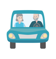 old couple in car vector image