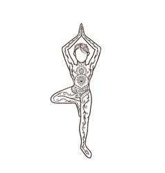 Ornament beautiful card with yoga man vector