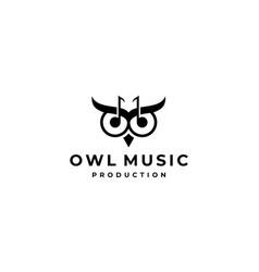 owl music logo design template vector image