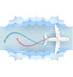 Paper art plane on the sky logistic travel vector