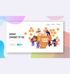people extracting and eating honey website landing vector image