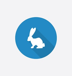 Rabbit Flat Blue Simple Icon with long shadow vector