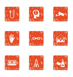 Rational icons set grunge style vector