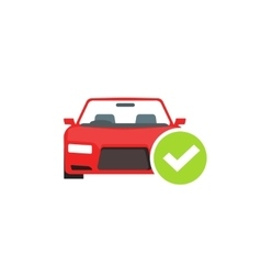 Red car with green checkmark auto check test vector image