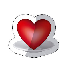 red heart inside the plate icon vector image