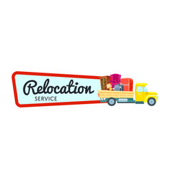 relocation service sticker with freight truck vector image