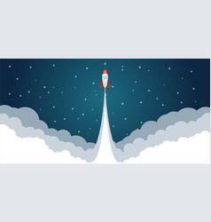 rocket space launch concept cartoon style vector image