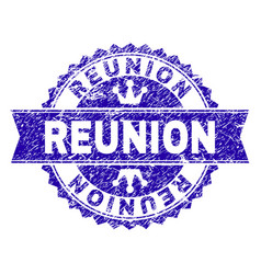 Scratched textured reunion stamp seal with ribbon vector