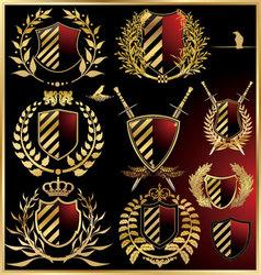 Set black shields with golden laurel vector