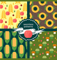 set of autumn harvest patterns vector image