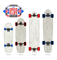 Set of blanks variety form longboards vector image