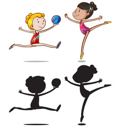 set of gymnastic athletes character vector image
