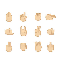 Set of hand gestures icons sign language vector