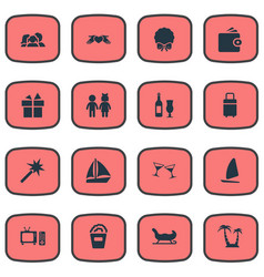 Set of simple festal icons vector