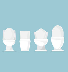 set of toilet bowls in bathroom vector image