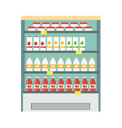 Showcase refrigerator dairy products vector