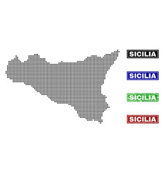 Sicilia map in dot style with grunge title stamps vector