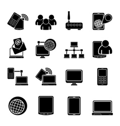 Silhouette Communication and technology equipment vector image