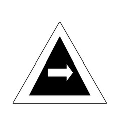 silhouette triangle warning notices with turn vector image