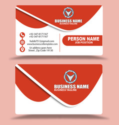 Simple red business cards design psd vector
