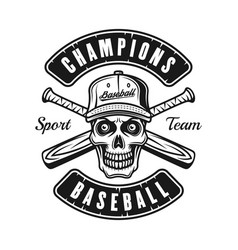 skull in cap and two baseball bats emblem vector image
