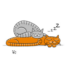 Sleeping cats sketch for your design vector