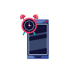 smartphone with alarm clock isolated icon vector image
