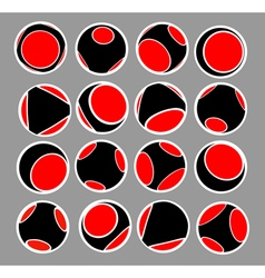 Sphere icon set in black red and white vector