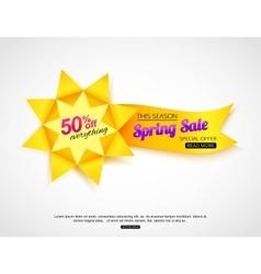 Spring sale banner Paper sale banner vector image