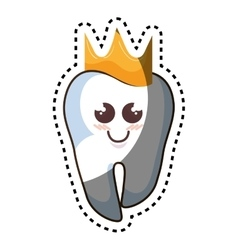 teeth funny character with crown kawaii style vector image