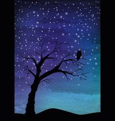 The old tree and the bird on the night sky vector