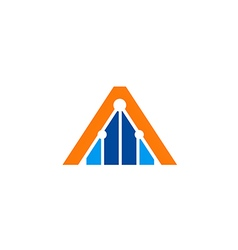 triangle construction line logo vector image