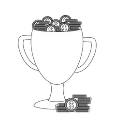trophy cup with coins black and white vector image