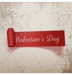 Valentines Day paper scroll red Ribbon with Text vector